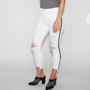NWT Express White Side Stripe Ripped Cropped Jeans
